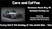Cars and Coffee 2nd and 4th Sunday 8-11AM in Municipal Parking Lot