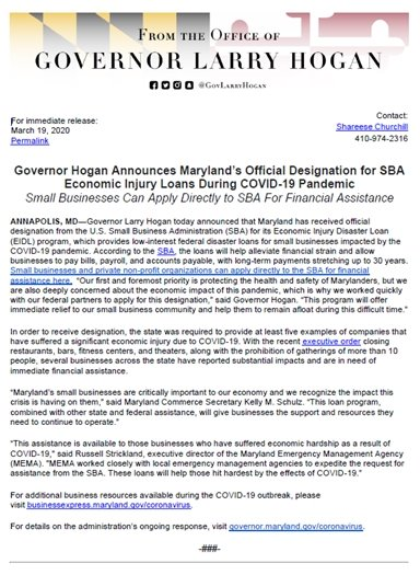 Governor Hogan Press Release SBA Loans during Pandemic
