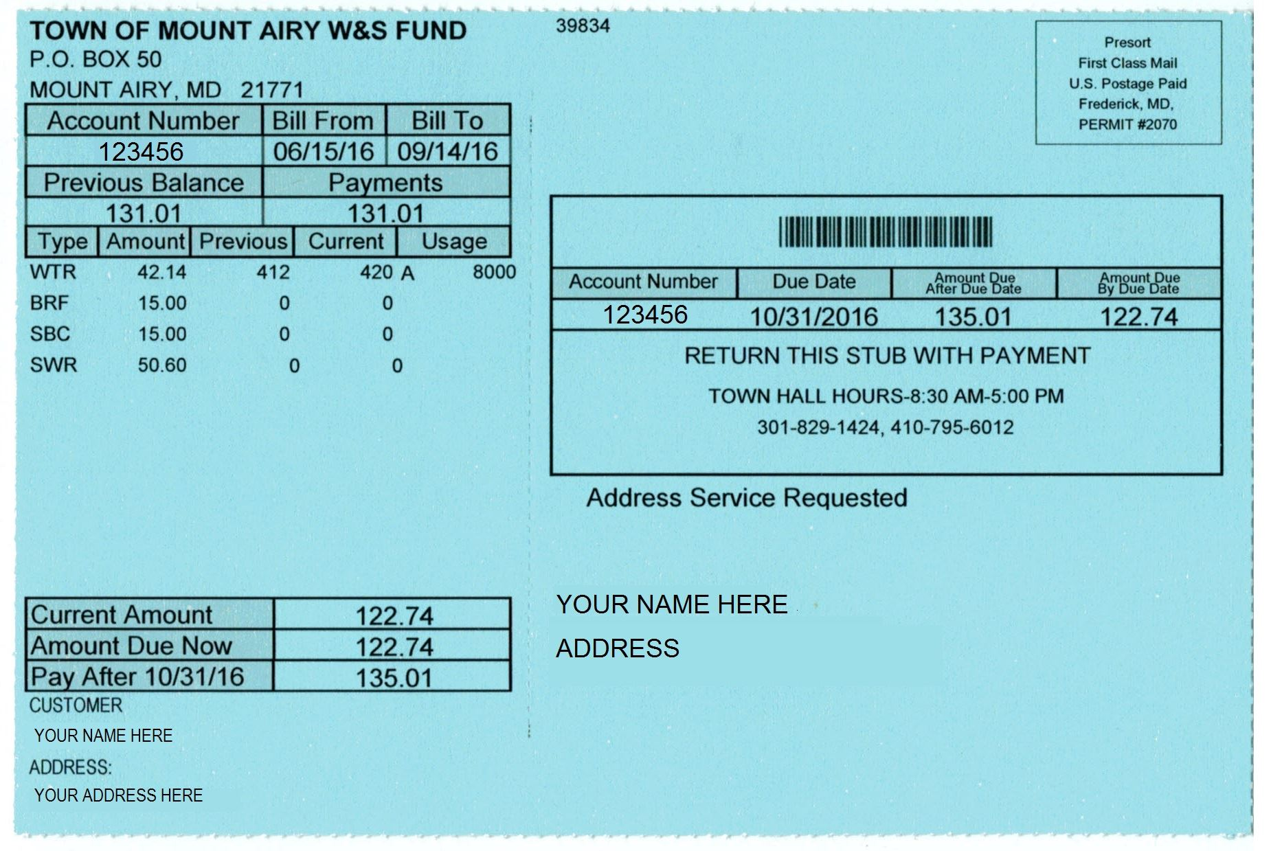 Example of Water and Sewer Bill